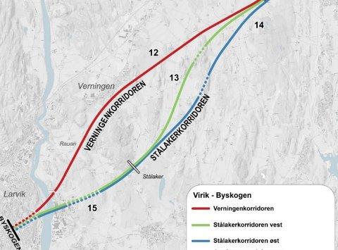 TRASÉ-UENIGHET: Larviks politikere ville ha korridor over Verningen og Bane NOR over Stålaker. Nå har Kommunal- og moderniseringsdepartementet kommet fram til den løsningen de mener er best.
