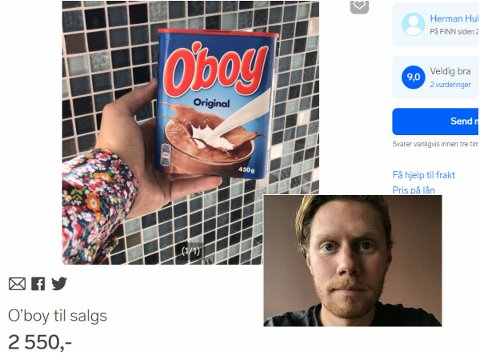 MORSOM ANNONSE: Herman Hulleberg fra Elverum tenkte han skulle utnytte O'boy-krisen i Sverige og la ut en annonse der han selger en boks med sjokoladepulver til en svimlende pris.