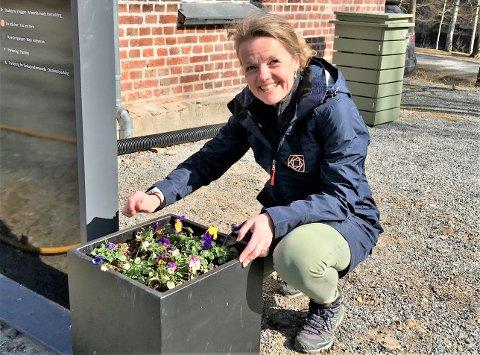 VÅRKLAR: Direktør ved Kistefos museet Birgitte Espeland planter stemorsblomster og klargjør for påskegjester.