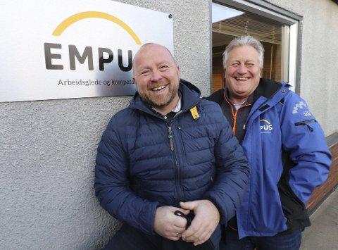 DRØMMEN OPPFYLT: – Nå er vi sikret for all framtid, fastslår daglig leder Runar Bergstrøm (til høyre) ved Empus AS. Her fotografert med styreleder Roy-Erik Mårtensson ved en tidligere anledning. (Arkivfoto)