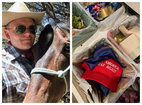 USA-FRELST: Jørgen Elstad, her avbildet i Arizona, er glad i USA, men president Donald Trump har han nå fått nok av – noe innholdet i søppelbøtta sier sitt om.