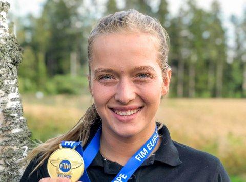EUROPAMESTER: Ingveig Håkonsen ble tidligere i år europamester i trial. Nå håper Skiptvet-jenta at det kan hjelpe henne i jakten på nye sponsorer.