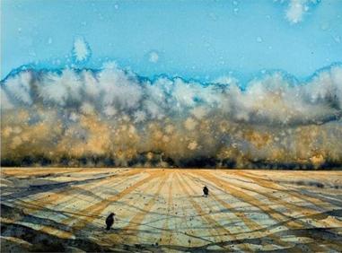 """""""The Darkness Is Coming"""", akvarell av Lill Beathe Kvalvåg."""