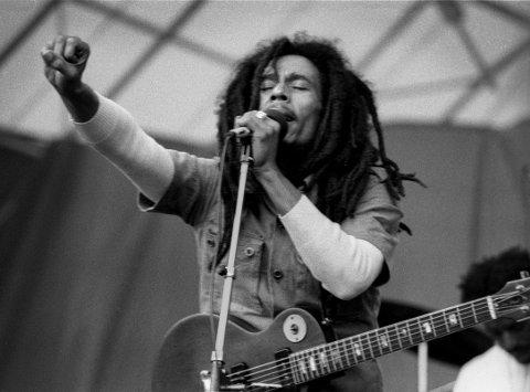 FRA JAMAICA TIL LYSTLUNDEN: Reggae-kongen Bob Marley under Hortensfestivalen 2. juli 1978.