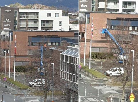 REAGERTE: Jan Erik Svendsen reagerte da han hørte lyden av en lift tidlig 1. mai. Det viste seg at et privat firma drev med vasking av vinduer på rådhuset i Stjørdal.