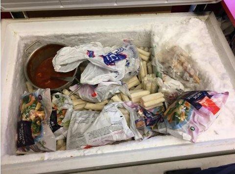 Fryser: Varene i fryseren er ikke pakket inn, de ligger direkte i fryseren. Det er svært mye is og rim i fryseren, mye av maten sitter fast i denne isen, skriver Mattilsynet i sin rapport.  All maten i vogna måtte destrueres. Foto: Mattilsynet
