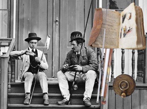 Elvefiske: To fiskekamerater på hagetrappen på Elverhøy rett etter 1880. Innklippt lignende gjenstander fra den nye samlingen av britisk fiskeutstyr på Leikvin. Originalfoto: O. J. Gravem de., gjenstandsfoto: Jarle Stavik, Nordmøre museum.
