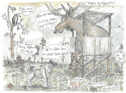FORSPRANG: Årets elgtegning har med en utro elghund som tipser skogens konge som jaktstarten.