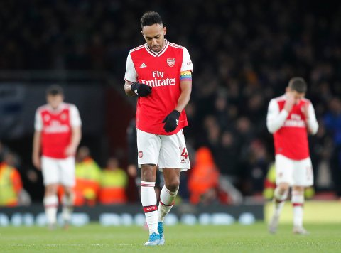 Arsenal's Pierre-Emerick Aubameyang after the English Premier League soccer match between Arsenal and Brighton, at the Emirates Stadium in London, Thursday, Dec. 5, 2019. (AP Photo/Frank Augstein)