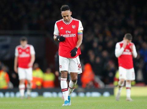 Pierre-Emerick Aubameyang har vært involvert i ti mål i de ti siste London-derbyene (åtte mål og to målgivende), men han har ikke klart å score på tre kamper mot West Ham. (AP Photo/Frank Augstein)