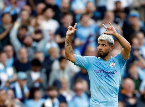Manchester City's Sergio Aguero celebrates after scoring his side's second goal during the English Premier League soccer match between Manchester City and Tottenham Hotspur at Etihad stadium in Manchester, England, Saturday, Aug. 17, 2019. (AP Photo/Rui Vieira)