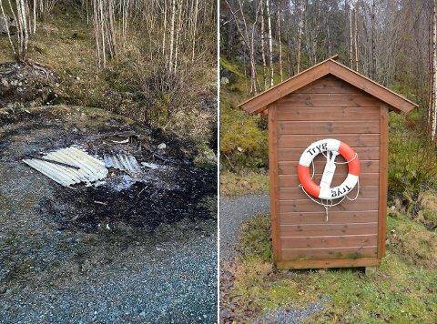 Bare takplatene lå igjen etter utedoen ved Skeisstøa badeplass.