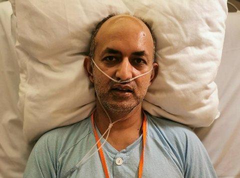 KORONASMITTET: Sajid Mukhtar ble lagt inn på sykehuset med alvorlig sykdomsforløp.