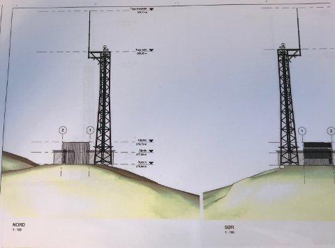HØGT: Rekna frå toppen av radarmasta blir Brandsøyåsen plutseleg over 300 meter høg.