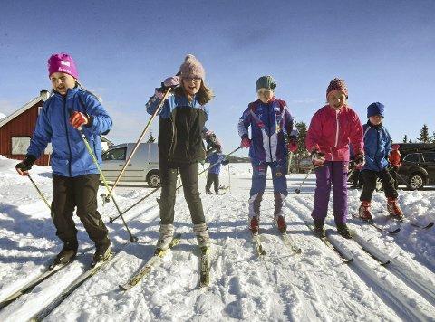 På Ski: Fra venstre Hanna Sofie K. Lynnebakken (9), Synne S. Nesholen (9), Ingrid L. Tønsager (9), Silje Beate L. Kristoffersen (9) og Aksel L. Tønsager (7), Foto: Bjørn Bjørkli