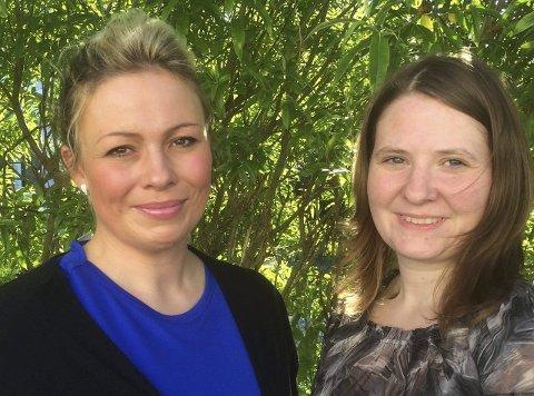 Engasjement: Trine Sivertsen Hjortdahl (til venstre) og Stina Helen Hermansen har lyst til å gjøre en jobb for lokalsamfunnet. De topper lista til Dønna Høyre sammen med Paula Anita Olsen (ikke til stede da bildet ble tatt). Alle tre er kumulert. Foto: Privat