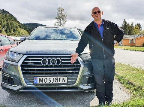 Lokalpatriot: Bård Bergrem har et lett gjennkjennelig bilskilt.