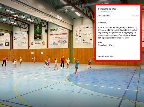 Ville ramme håndballgruppa: Svindel-eposten ble oppdaget av BSFs håndballgruppe. Foto: Kyrre Johansson/skjermdump