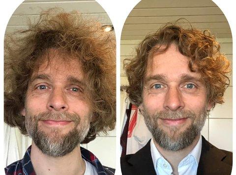FØR OG ETTER: Sangeren Jan-Tore Saltnes fikk endelig besøkt frisøren denne uka. – Det er bildet til høyre som er tatt etterpå og bildet til venstre som er tatt i forkant, understreker han med et smil.