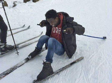 Upps: Det er ikke bare, bare med glatte ski under føttene.
