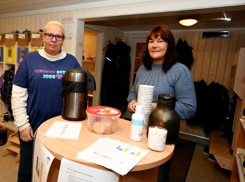 Markering: Sigrid Ringen og daglig leder Siw Hjelde møtte foreldre som leverte barna i barnehagen med kaffe og informasjon.