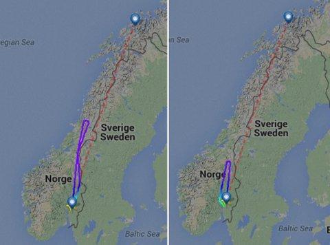 TO SNUOPERASJONER: Slik måtte Norwegians rute med rutenummer DY378 snu både søndag og mandag.