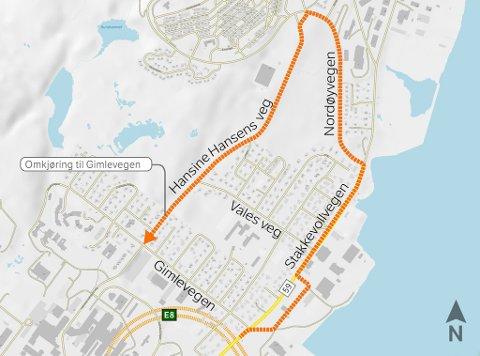 Slik må du kjøre for å komme deg til Gimle på Tromsøya denne og neste måned. Illustrasjon: Statens vegvesen