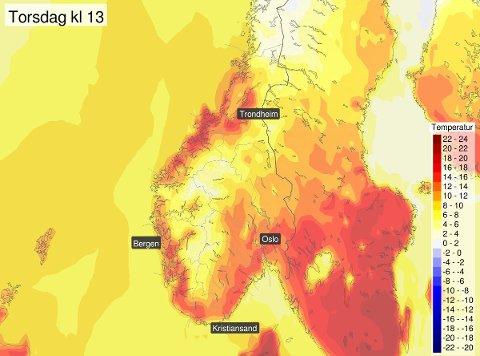 VÅRVARMT: Det blir varmere og varmere utover uka. Torsdag kan det bli over 20 grader flere steder i landet.