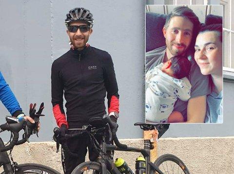KLAR, FERDIG, GÅ: Stian Grønsås (30) fra Raufoss og samboeren Merima Dedic fikk sitt andre barn i helga. Samtidig syklet far i huset Trondheim - Oslo.