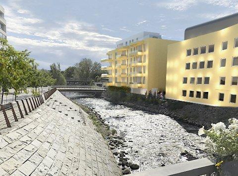 NY BOLIGBLOKK: Det nye bygget er planlagt oppført i forlengelse av det eksisterende bygget langs Hunnselva og på tomta som i dag er parkeringsplass til Strandgata 13c.