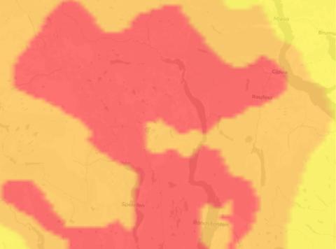 STOR FARE: Røde områder betyr stor fare for skogbrann. Det er det i blant annet Gjøvik, Raufoss og Søndre Land.