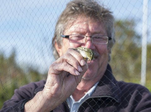 Godt fornøyd: Karl Petter Gade har merket arten tidligere, men aldri tre på samme dag. Foto: Geir Eriksen.