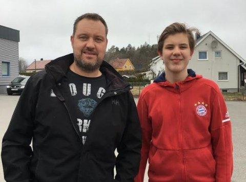 HVAL?: var det hvaler Geir Bjarne Dahl-Olsen og sønnen Loke så ved Rakke på torsdag kveld?