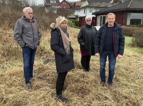 TORDNER: Svein Wold, Anne Bjørg Arntzen, Kjersti Arntzen og Allan Arntzen sier de nå skal danne felles front mot boligprosjektet som ønsker realisert midt i den grønne luna i nabolaget i Eikstrand i Bamble.
