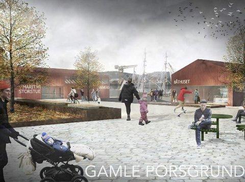 AKTUELT IGJEN: Slik har Feste tegnet «Gamle Porsgrund», en plan for hvordan sjøfartsmuseet kan utvikles. Friteatret er nå koplet på planen og er begeistret.
