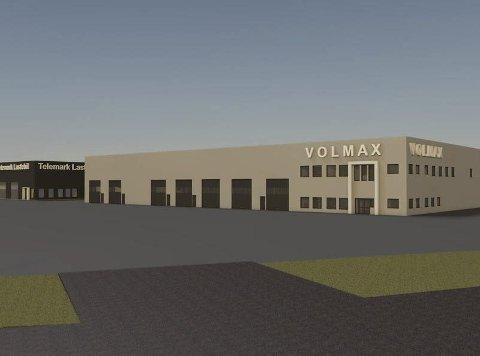 TENKER STORT: Slik planlegger man for at den nye Volmax-butikken på Engerfeltet skal se ut. Cognia ønsker også å bygge en verkstedhall for Telemark lastebil, slik at de kan videreføre leieforholdet.