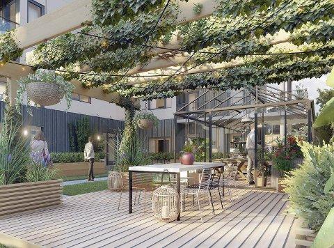 Lyst, luftig og grønt: Det første bygget i Heistad Botaniske borettslag får etter planen et uteområde med felles pergola og drivhus. Det blir totalt 15 leiligheter fordelt over fem etasjer, med parkeringskjeller i underetasjen.