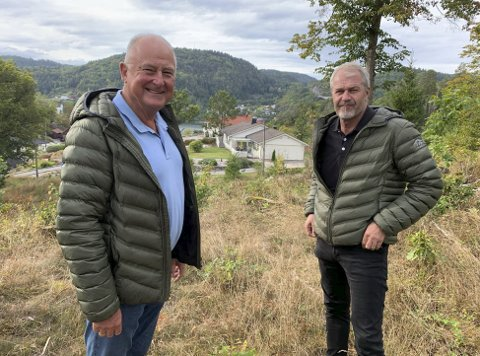 Utsikt: Bjørn Anker og Ole Gunnar Thommesen (t.h.) i TVB Bolig sier at eneboligene skal bygges på denne åsryggen, med kveldssol og utsikt over Langangen og fjorden.