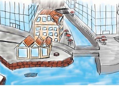 – Under Tippen ligger det flere gamle elveleier. Det som er oss, det som er Hønefoss ... (Illustrasjon: Per Martin Nordli)
