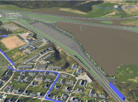 Slik kan togparkeringsanlegget bli ved Tolpinrud. Det blå feltet nede til høyre er den planlagte vaskehallen for tog. Illustrasjon: Fellesprosjektet for E16 og Ringeriksbanen