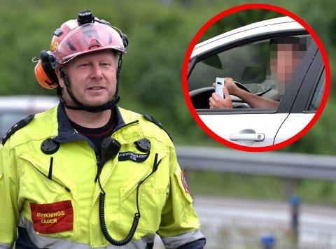 IKKE IMPONERT: Utrykningsleder Tom Skjellerud i NRBR om folks oppførsel rundt ulykkessteder.