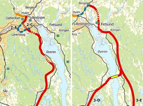 Firefelts motorvei med tunnel under Flateby eller bru over Øyeren fra Hammeren er to alternativer som er vurdert for å avlaste trafikken på E6 gjennom Oslo. Tunnelen er foreslått å bli 4,4 kilometer lang.