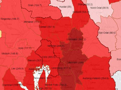 MØRKERØDT: På Romerike er det fremdeles svært høye smittetall, noe det røde kartet viser.
