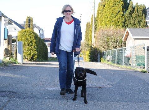 SAMSPILL: Hunden Solo er til uvurderlig hjelp for Sølvi Ørstenvik.