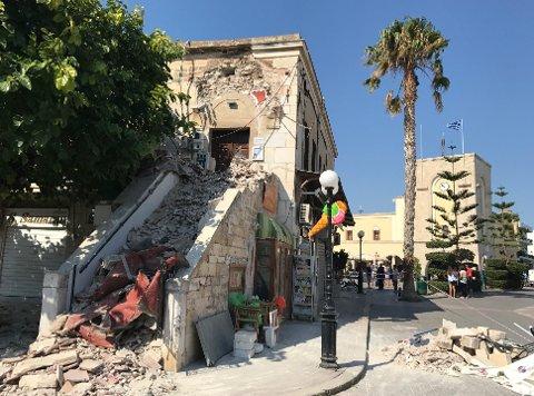 STORE ØDELEGGELSER: Det var store ødeleggelser i hovedstaden på Kos etter jordskjelvet natt til fredag.