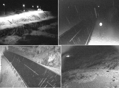 Det er vinterføre i øvre deler av fylket. Dette er bilder hentet fra vegvesenets webkamera ved 06-tiden, fredag morgen. Her viser E134 Haukelifjell, E134 i Vinje,  E134 Meheia og E134 Midtlæger.