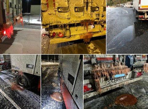 Noen eksempler på fisketransporter med rennende last. Bildene er tatt av Statens vegvesens kontrollører. Foto: Statens vegvesen