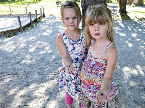 Massedød: Humlene ligger strødd på grusen under treet i barnehagen. Det synes Sunniva Jacobs Steinberg (til høyre) og Ingrid Utne er leit og mystisk.