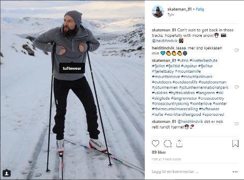 """DÅRLIG MERKET: Slik så et av innleggene til Frank Tindvik ut på Instagram. Den eneste måten å se at dette er sponset av Olaf Tuftes klesmerke er av emneknaggen """"sponsored"""" nesten helt nederst."""