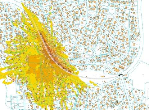 STØYINTENSIVUKE:Foreløpig kart som viser beregnet anleggsstøy ti dager i august da NRC skal jobbe døgnet rundt med å skifte ut masser i ei fylling 300 til 400 meter vest for Nittedal stasjon.